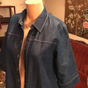 Denim button up dress duster coat size 16 stretch